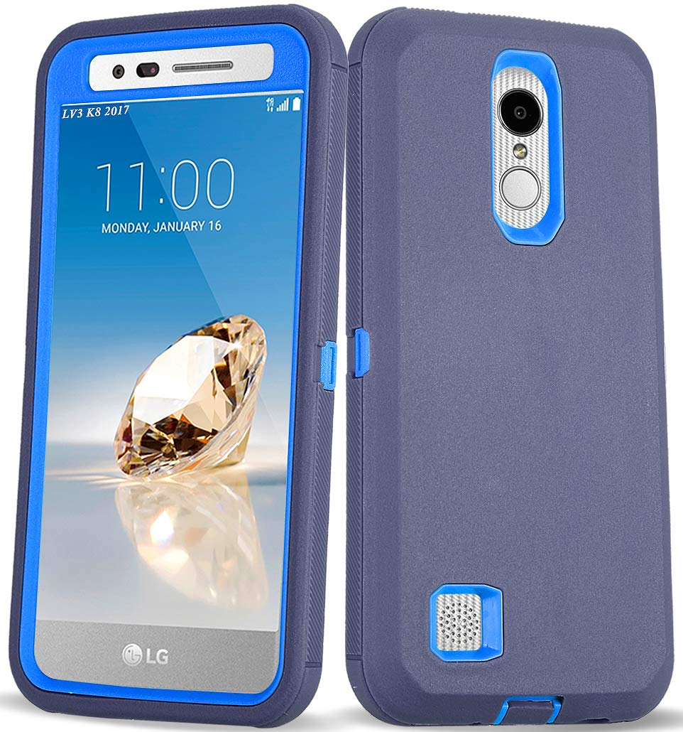 LG Aristo 2 Case, LG Tribute Empire/LG Tribute Dynasty/LG Rebel 3 L158VL/LG Rebel 4 LTE Case, 3 in 1 Heavy Duty Shockproof [with Built-in Screen Protector] Protective Armor Phone Cover (Navy)