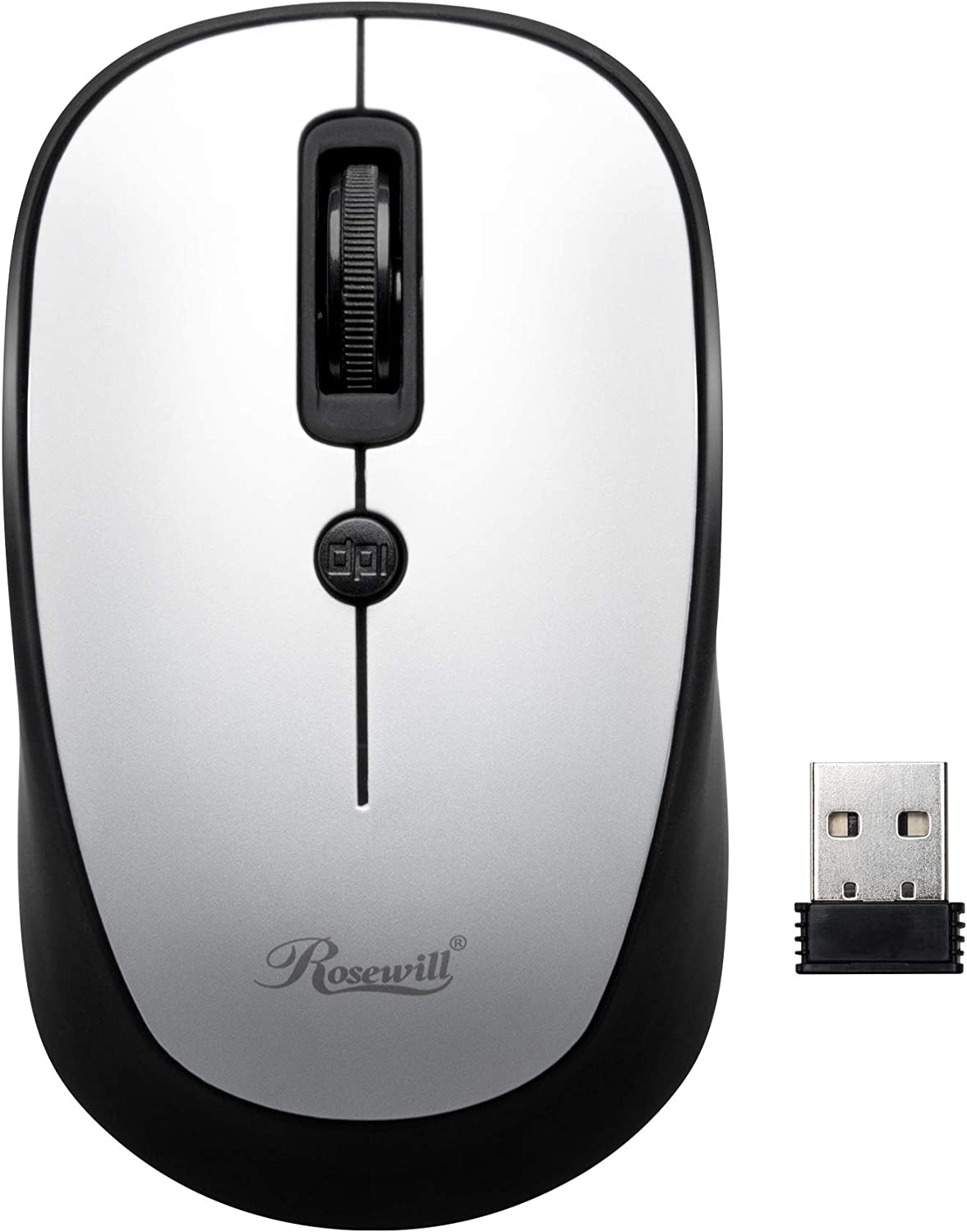 White PC Office Style for Laptop Office Mouse USB Wireless Receiver Adjustable DPI MacBook Rosewill RWM-002 Portable Cordless Compact Travel Mouse Computer Optical Sensor 4 Buttons Notebook