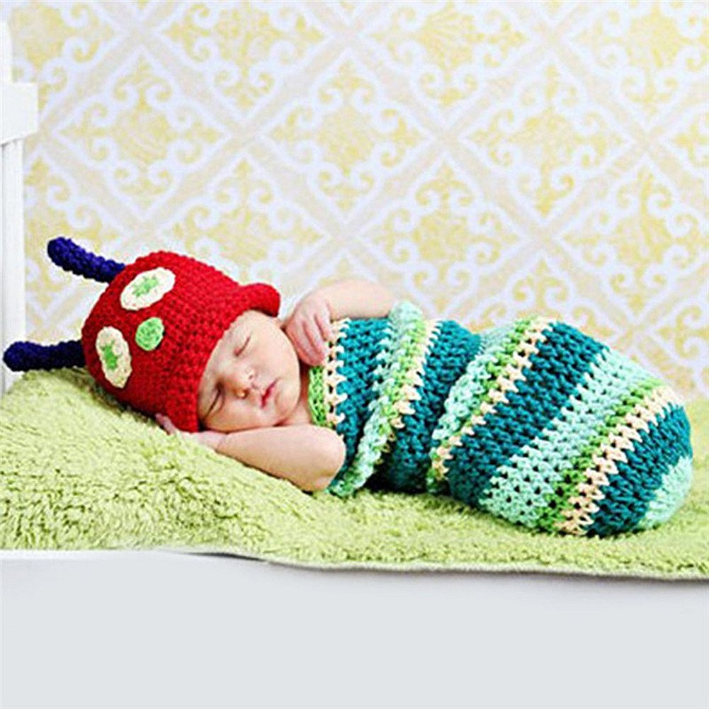 HAPPY ELEMENTS Cute Caterpillar foto props ganchillo capullos Beanie ...