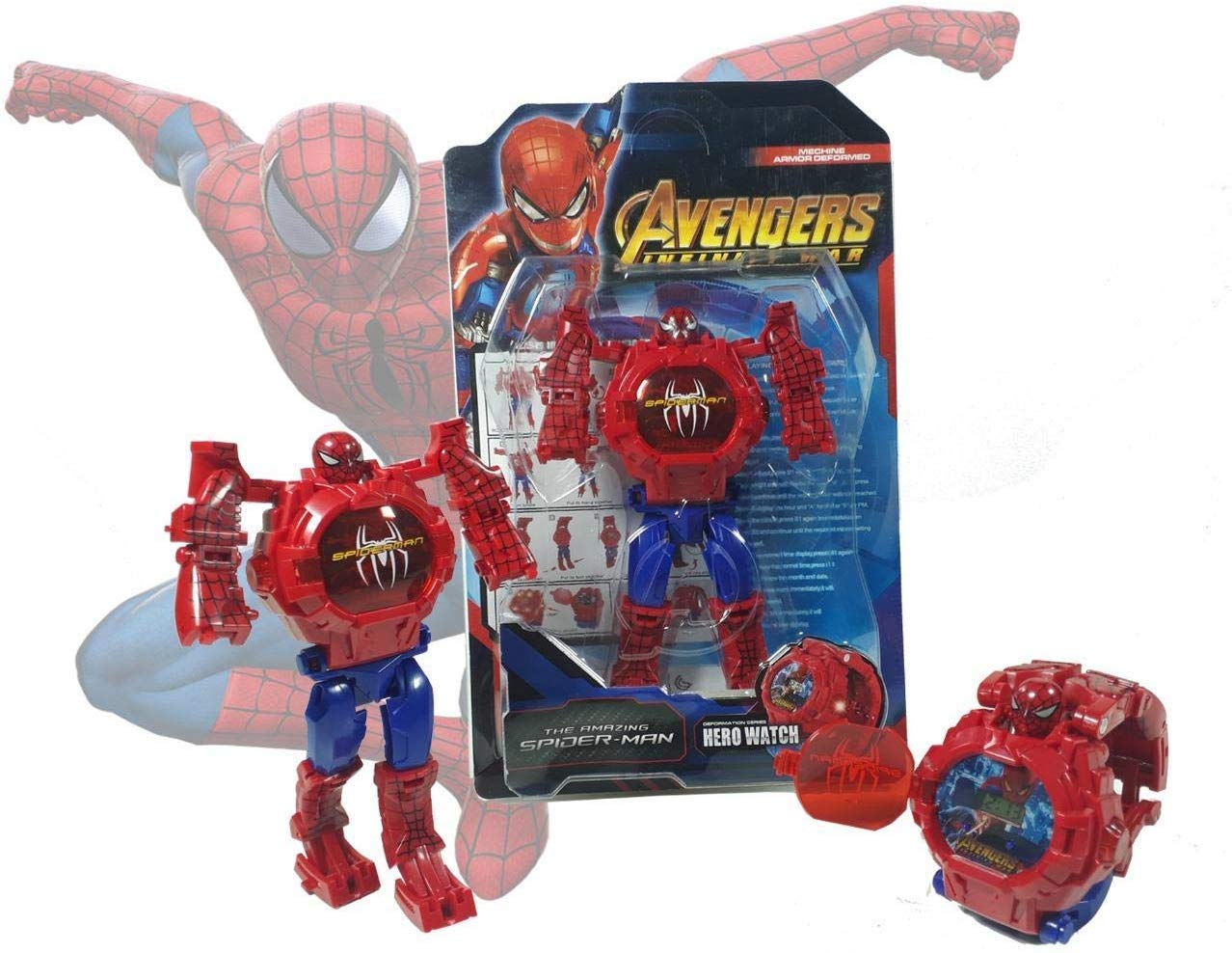Transformers Action Figure Kids Toys Robot Spiderman Avengers Model Iron Man