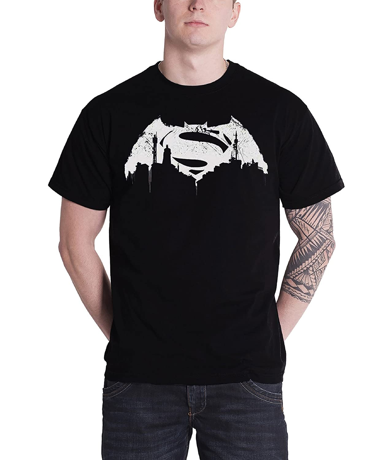 Batman V Superman Beaten Logo Mens Black TS