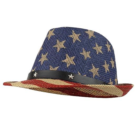4f8b57d5851 Armycrew American Flag Design Firm Lightweight Toyo Straw Fedora Hat - Khaki