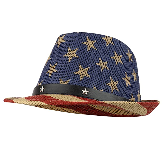 Armycrew American Flag Design Firm Lightweight Toyo Straw Fedora Hat