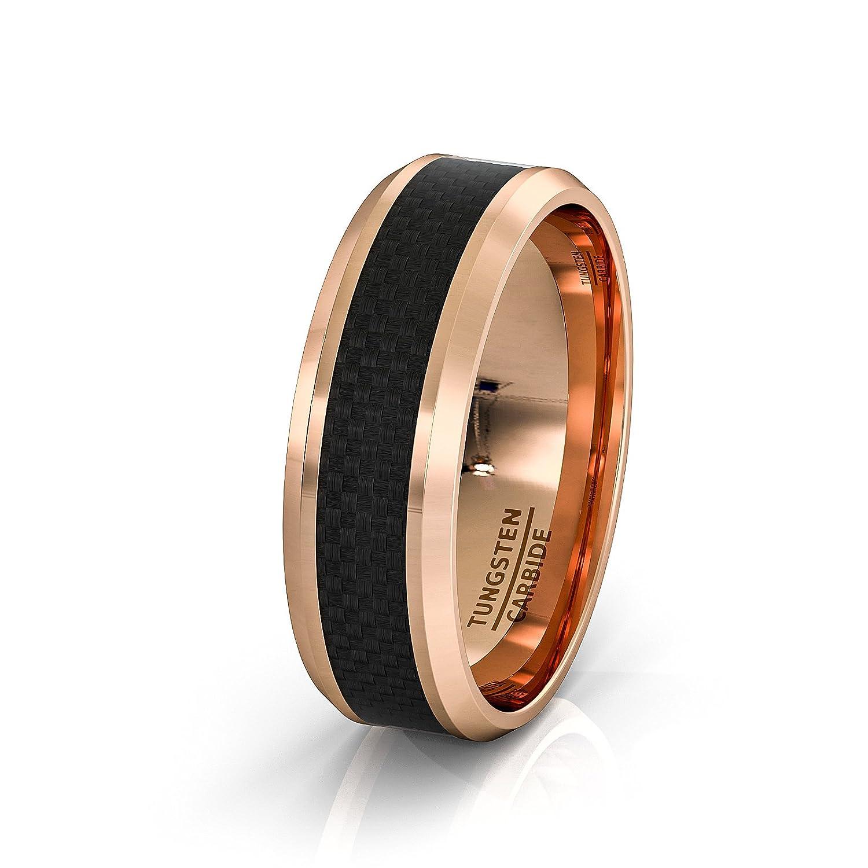 Mens Wedding Band 8mm Rose Gold Tungsten Ring Black Carbon Fiber