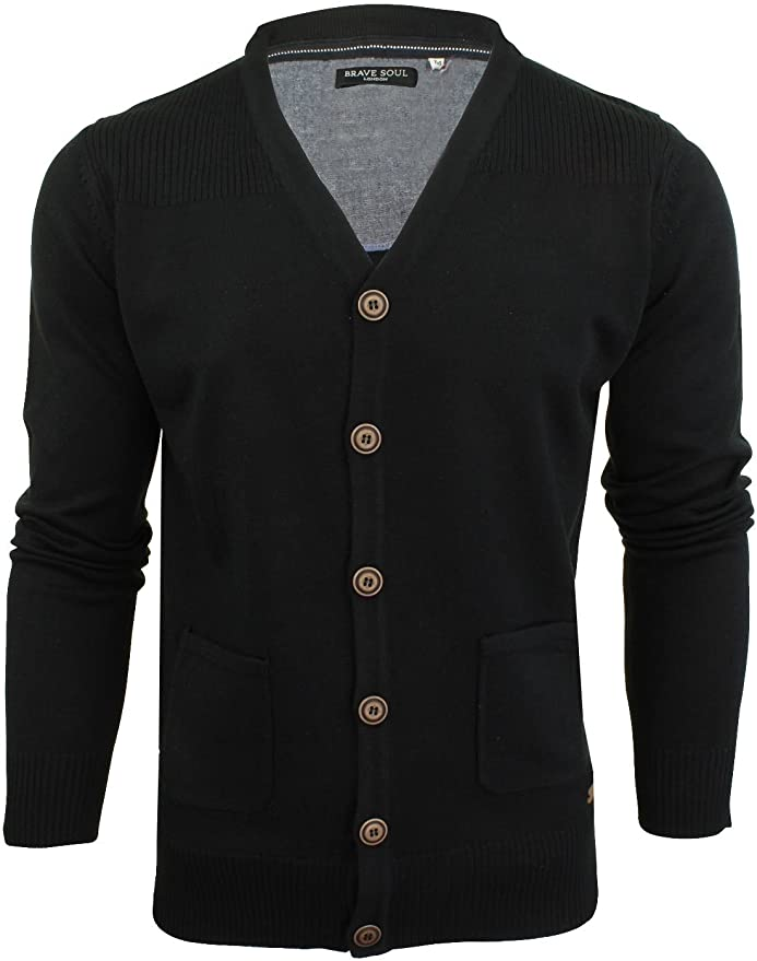 60s 70s Men's Jackets & Sweaters Mens Brave Soul Ghazali Knitted Jumper Button Through Cardigan  AT vintagedancer.com
