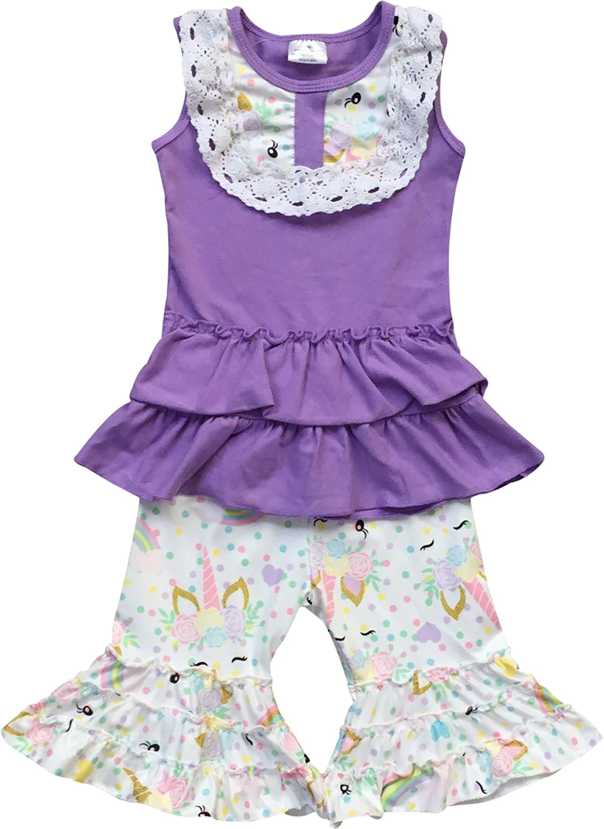 Little Girl Kids Sleeveless Unicorn Rainbow Summer Pants Set Lavender 6 XL 317709