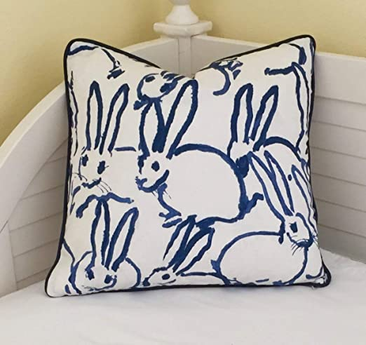 Athena Bacon Bunny Hutch Print in Navy Pillow Cover,Hunt Slonem, Double Sided,