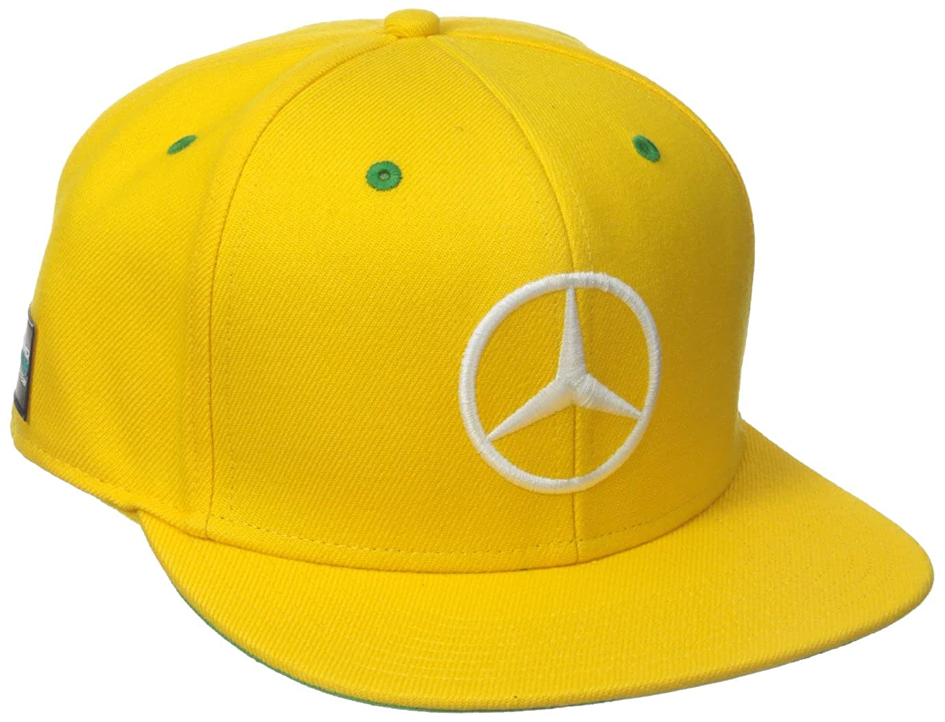 Mercedes Benz Formula 1 AMG Petronas Lewis Hamilton Special Edition Yellow  Brazil Flat Brim Hat at Amazon Men s Clothing store  46ae560aa97