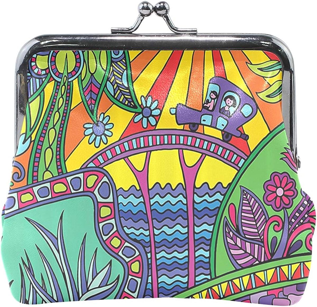 MALPLENA Colored Fictional Landscape change purse for women leather purse