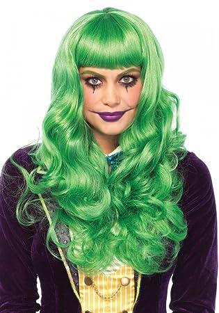 Verdes ladrón de Mujer Peluca con Pony y Ondas de Leg Avenue Onda Larga Pelo Payaso