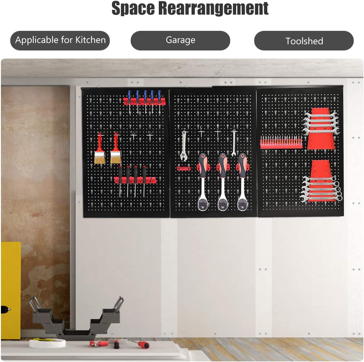 Goplus 24 x 48 Metal Pegboard Panels Garage Heavy Duty Board Storage Holder Tool Organizer Black