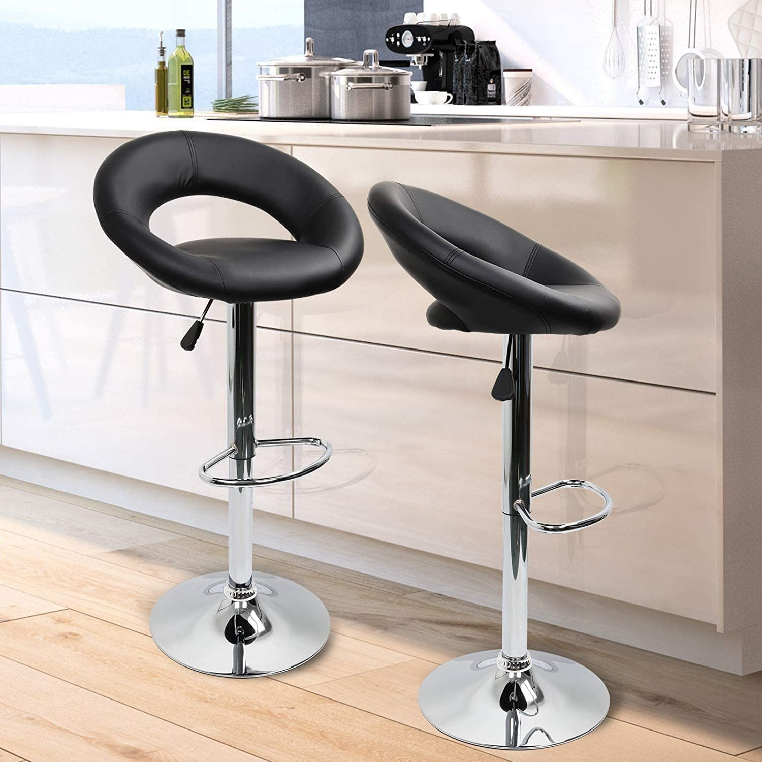 MIFI Bar Stools Set of 2,Faux Leatherr Bar Stools Black Dinning Chairs,Bar Chairs With 360 Degree Swivel Adjustable Height Black