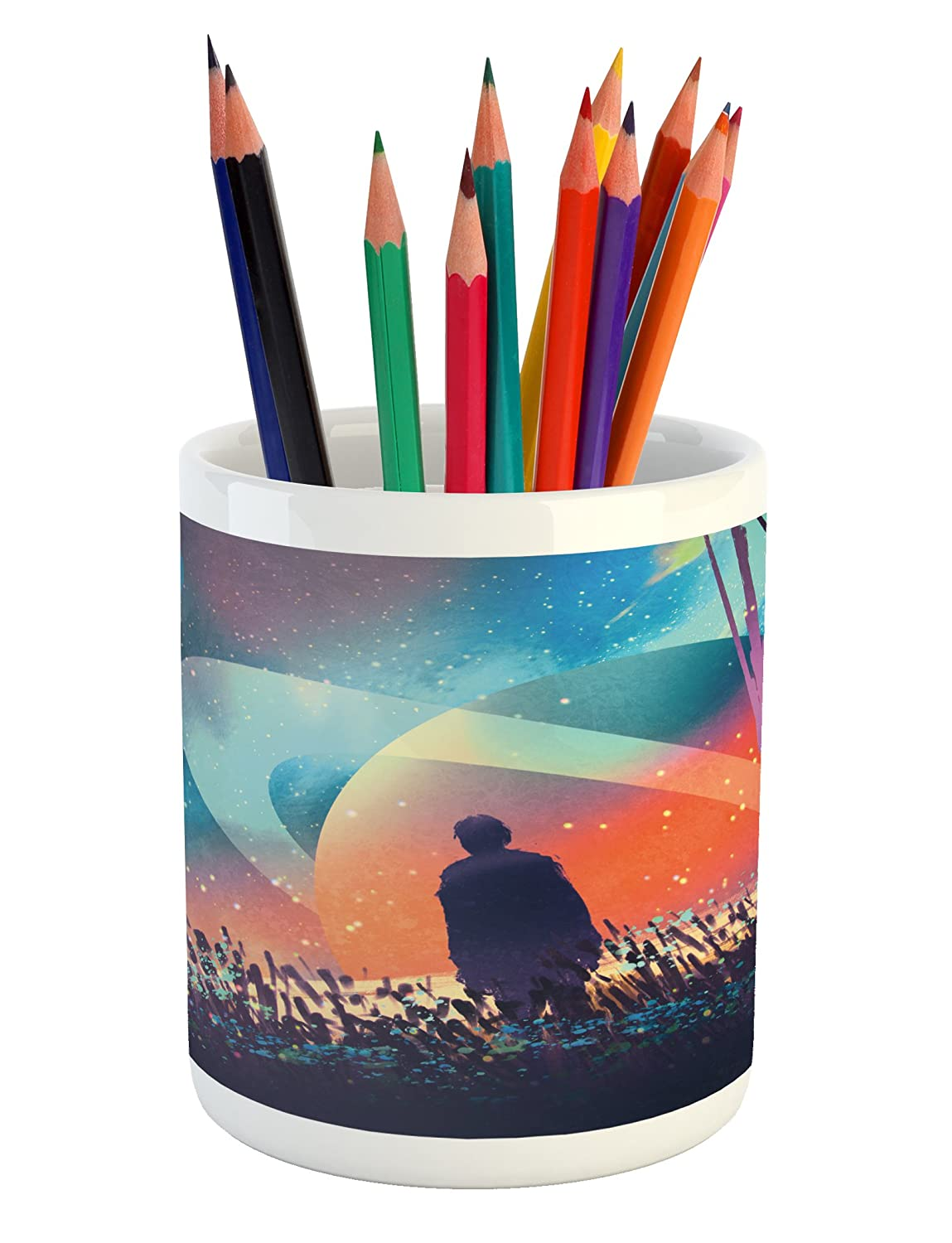Ambesonne fantasy pencil pen holder man alone under vibrant colored reflections of galaxy planets space cosmos art printed ceramic pencil pen holder for