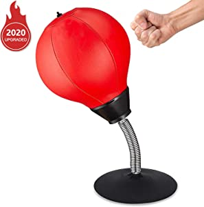 Aplus Desktop Punching Bag, Relieve Stress Buster Desktop Punching Ball, Heavy Suction Cup Relief Ball, for Office Pressure Relief Gift .(Red)