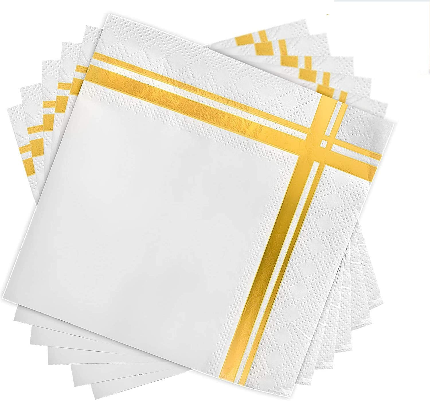 Fanxyware White and Gold Cocktail Napkins, 3-ply, 120 Pack, 5