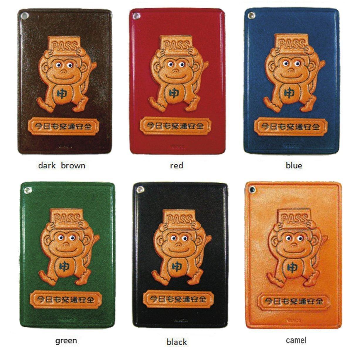 Zodiac/Monkey Leather Animal Pass/ID/Card Holder/CaseVANCA Handmade in Japan
