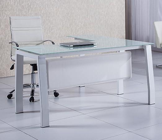 Mesa escritorio en L de 150cm con cristal blanco para oficina o ...