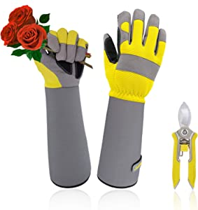 Jardineer Rose Gloves & Trimming Scissors Set, Thornproof Gardening Gloves with Adjustable Velco, Long Sleeve Rose Pruning Gloves, Women's M