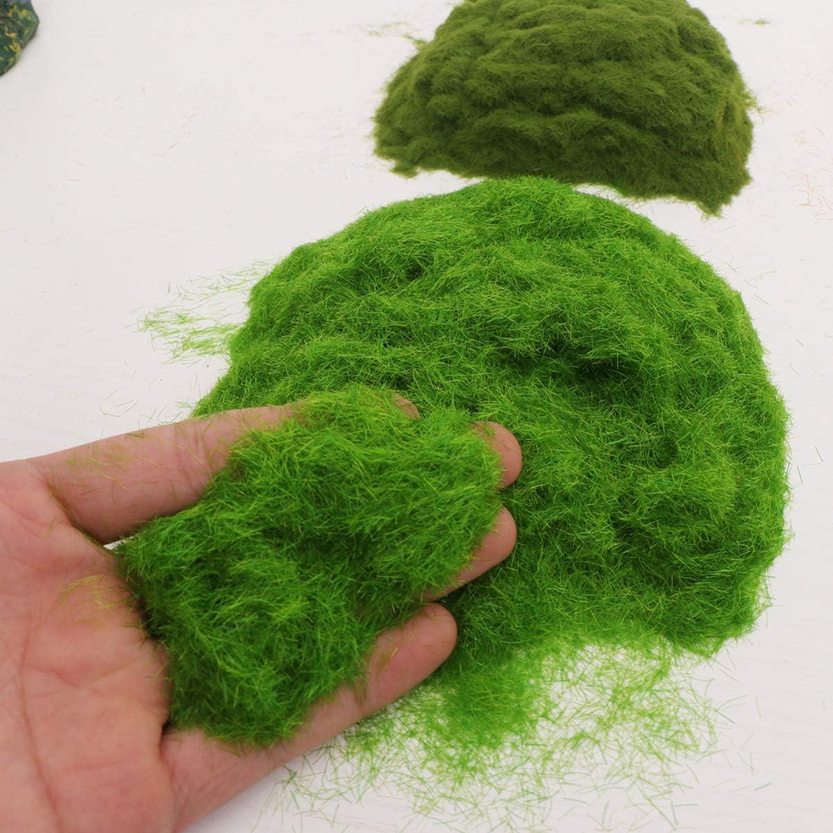 NUOBESTY Mixed Model Grass Terrain Powder Green Fake Grass Fairy Garden Miniatures Landscape Building 4 Pack