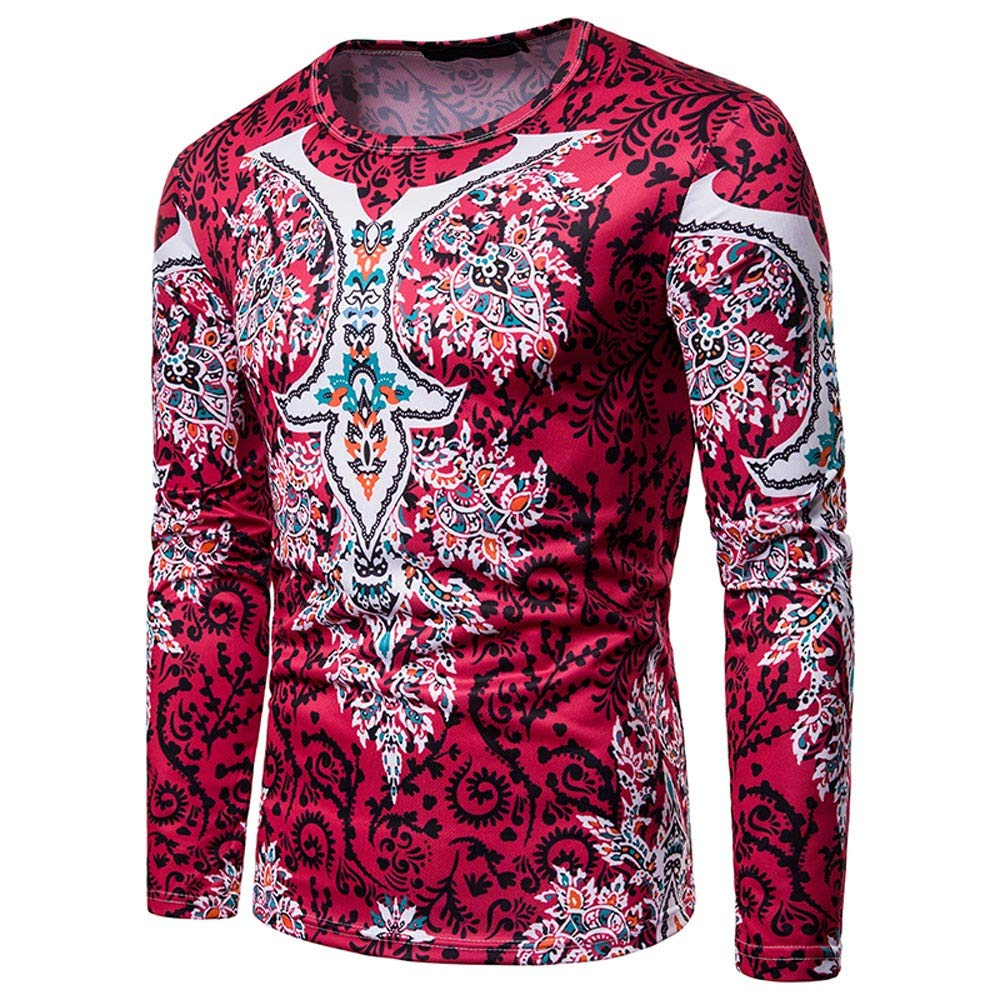 iLXHD Mens Autumn Winter Polyester African 3D Print Long Sleeve Dashiki O-Neck Sweatshirt Top