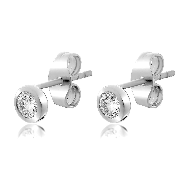 Orphelia Women White Gold Stud Earrings OD 5329 Amazon