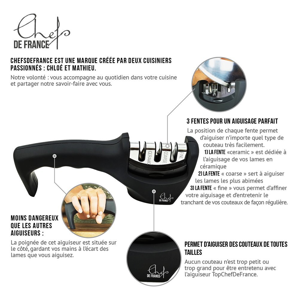Compra ChefsDeFrance - Afilador de Cuchillos - Compatible con Cuchillos de Cerámica - Afilado en 2 Fases - Calidad Profesional y Eficacia - Manejo Excelente ...