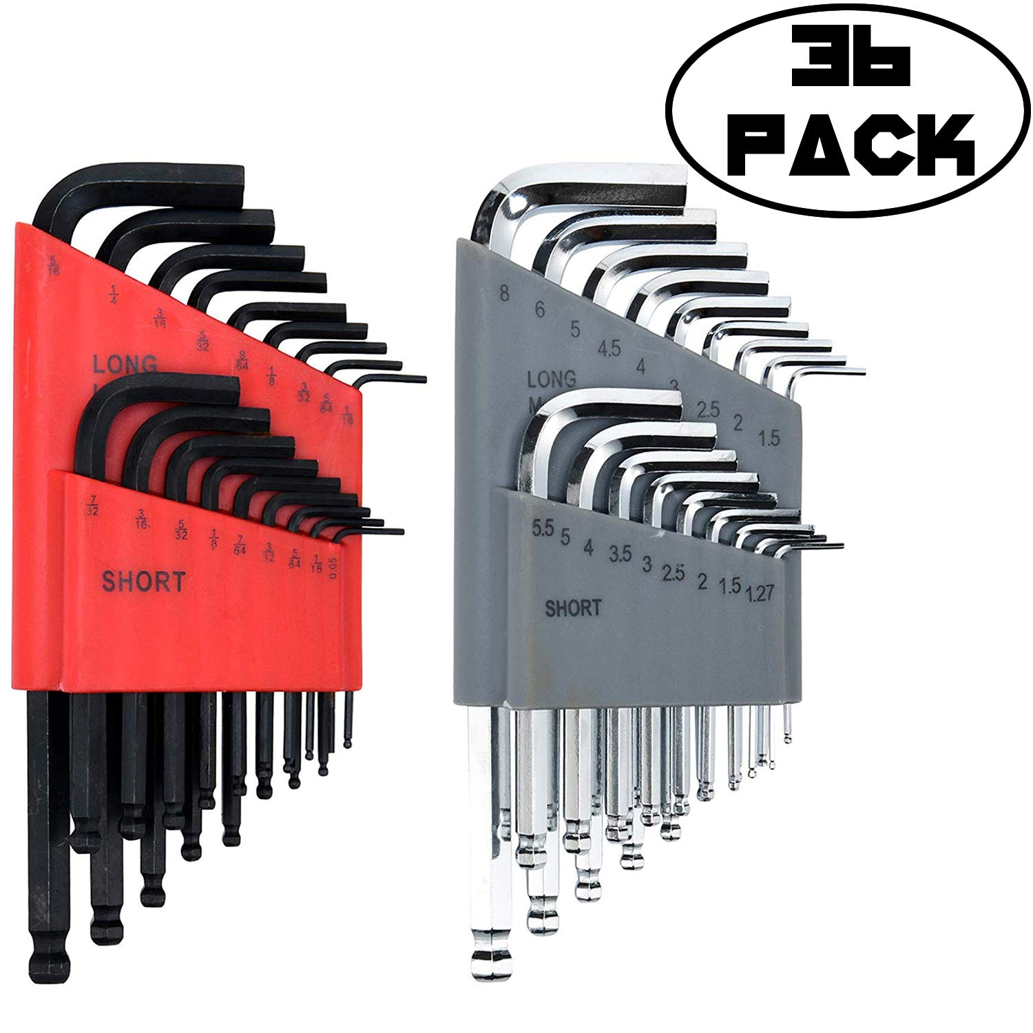 Allen Wrench/Hex Key Set (HUGE SET OF 36 WRENCHES WITH BALL END) Metric & SAE Sizes in Both Long & Short Arm
