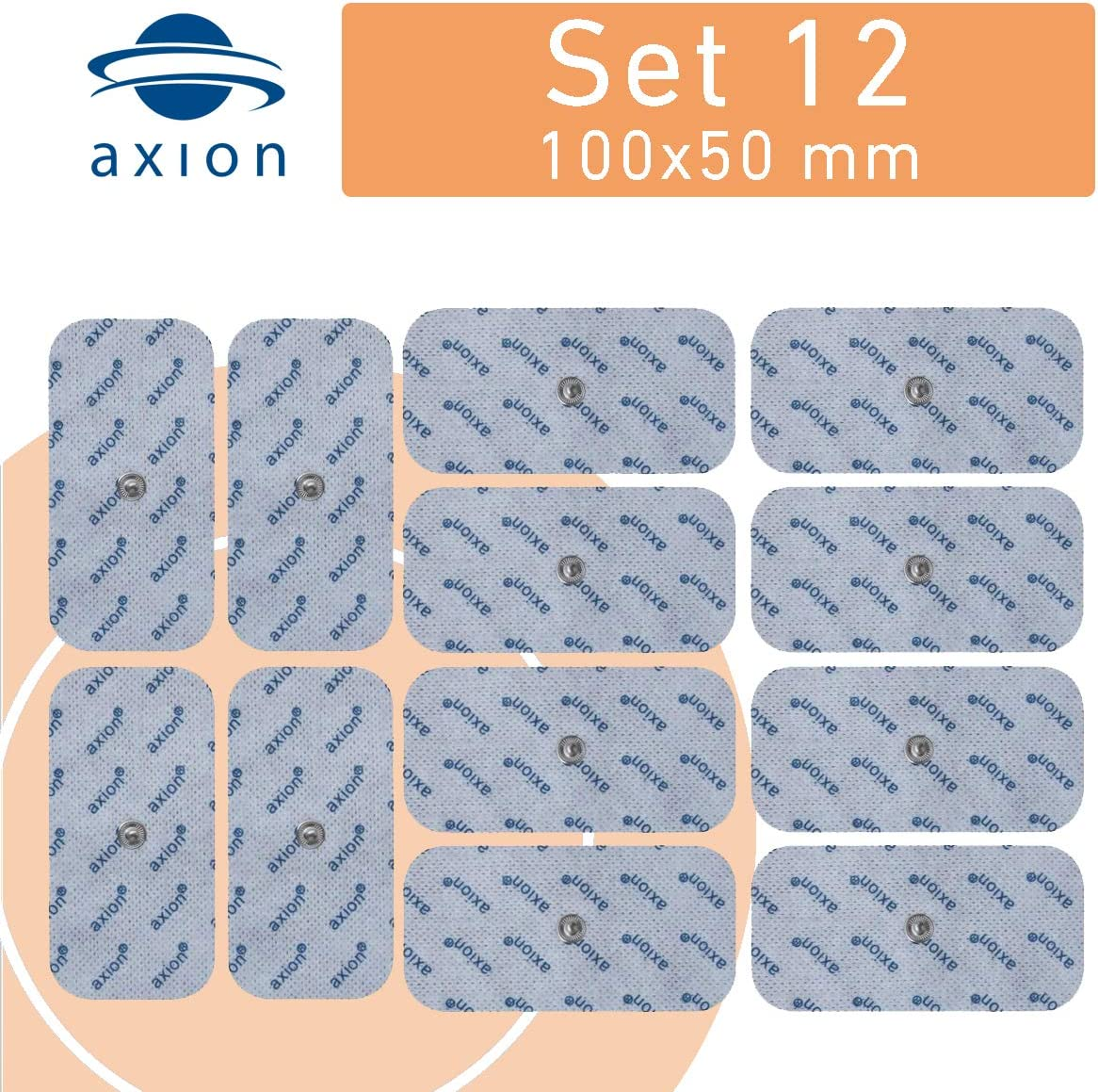 12 Electrodos de 10x5 cm - para su aparato TENS EMS electroestimulador VITALCONTROL & Beurer - axion
