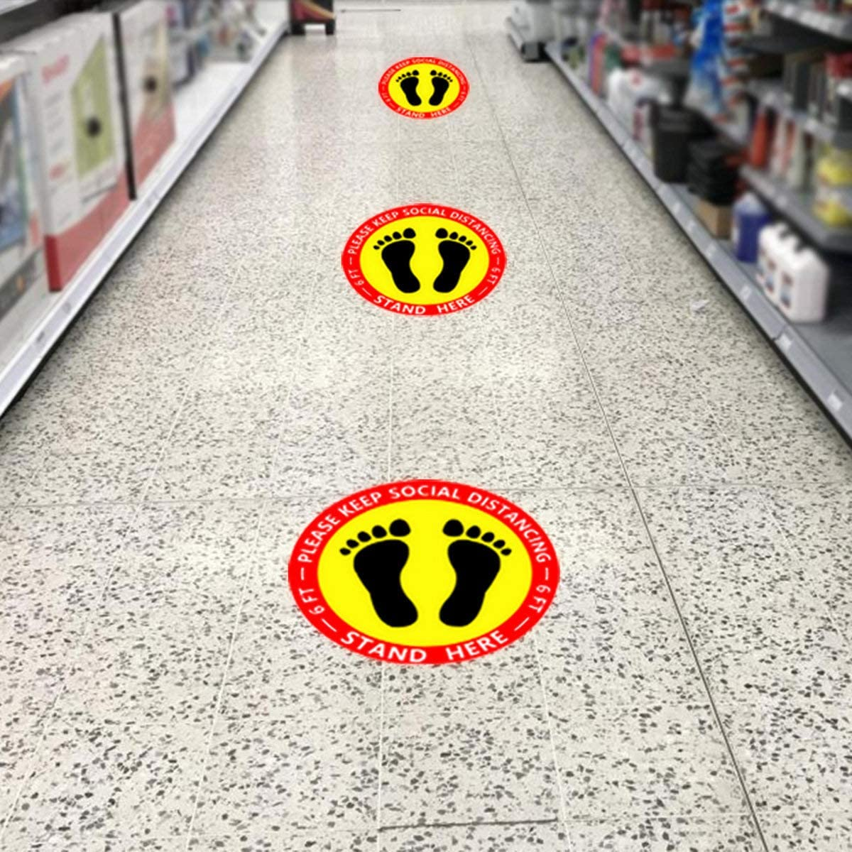 Kimje Social Distancing Floor Decals,15 Pack 12 Social Distancing Floor Sign Marker Stickers,Waterproof,Keep 6 Feet Safety Apart Anti-Slip Sign for Shopping Mall,Market,Grocery Pharmacy,Banks