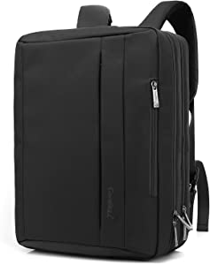 CoolBELL 15.6 Inches Convertible Laptop Messenger Bag Shoulder Bag Backpack Oxford Cloth Multi-Functional Briefcase for Laptop/MacBook (Black)
