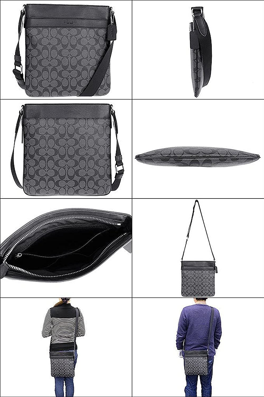 137a2e62b Amazon.com: COACH men's shoulder bag F71877 charcoal/black Bowery signature  crossbody: Shoes