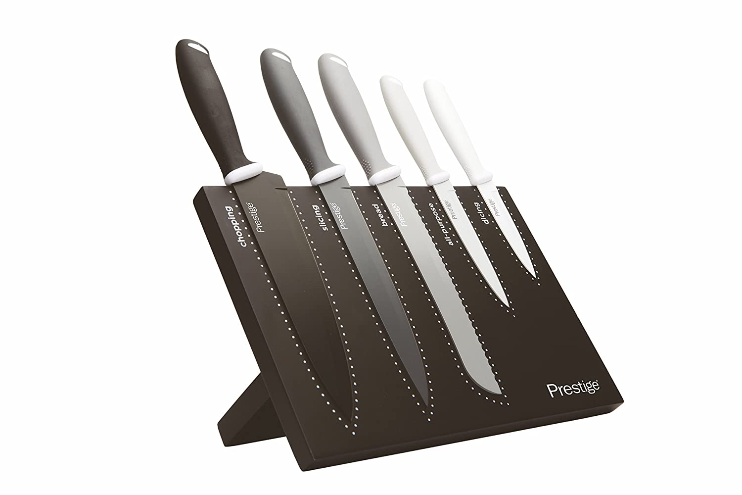 Prestige Stainless Steel 6 Piece Magnetic Knife Block Set - Black/White, Set of 6 Meyer Group Ltd 46423