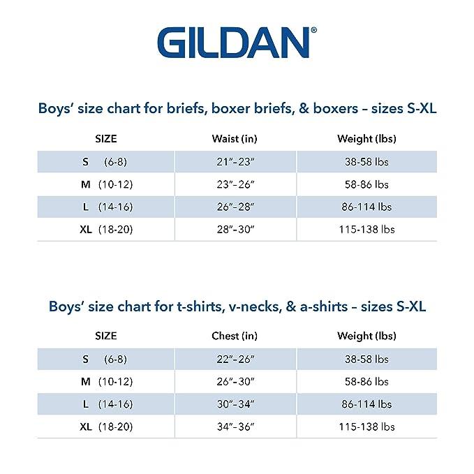 Gildan Boys Crew T Shirts 6 Pack