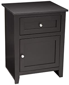 AmazonBasics Classic Wood Nightstand End Table with Cabinet - Black Oak