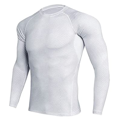 Homyl Men White Long Sleeves Tights Sports Shirt Fitness Compression Tops S-3XL