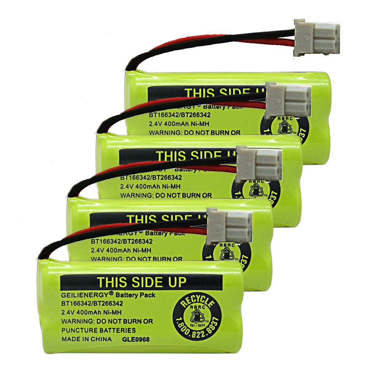 Geilienergy BT183342 BT283342 BT166342 BT266342 BT162342 BT262342 Battery Compatible with VTech CS6114 CS6419 CS6719 at&T EL52300 CL80112 VTech CS6719-2 Cordless Handsets (Pack of 4)