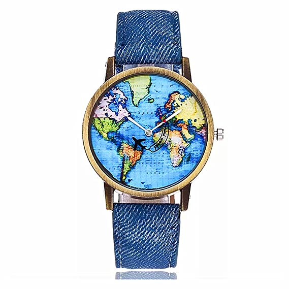 Amazon.com: MINILUJIA Travel The World Watch Cool Unique Airplane Moving Flying World Map Watch with Blue Jeans Color Watch Band: Watches