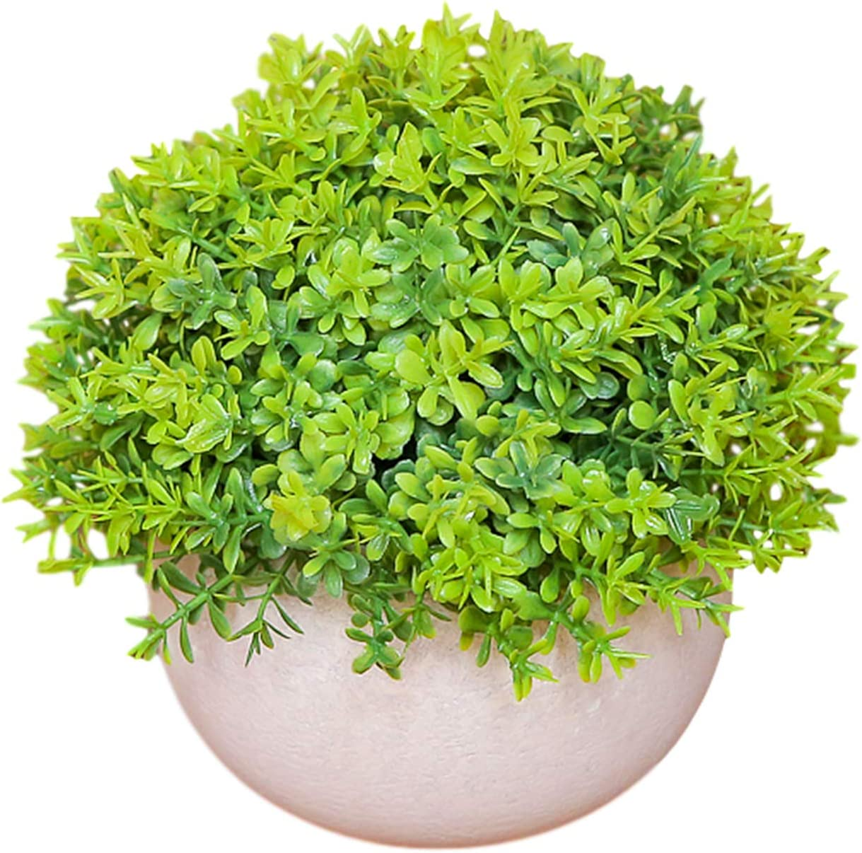 Artificial Plant in Pots for Home Decor Indoor Aesthetic, Fall Décor Faux Fake Topiary Shrubs for Desk and Shelf in Bathroom / Bedroom / Living Room (Green-Grass)