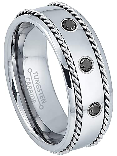 5e247d4476773 Jewelry Avalanche 0.21ctw Black Diamond 3-Stone Mens Tungsten Ring ...