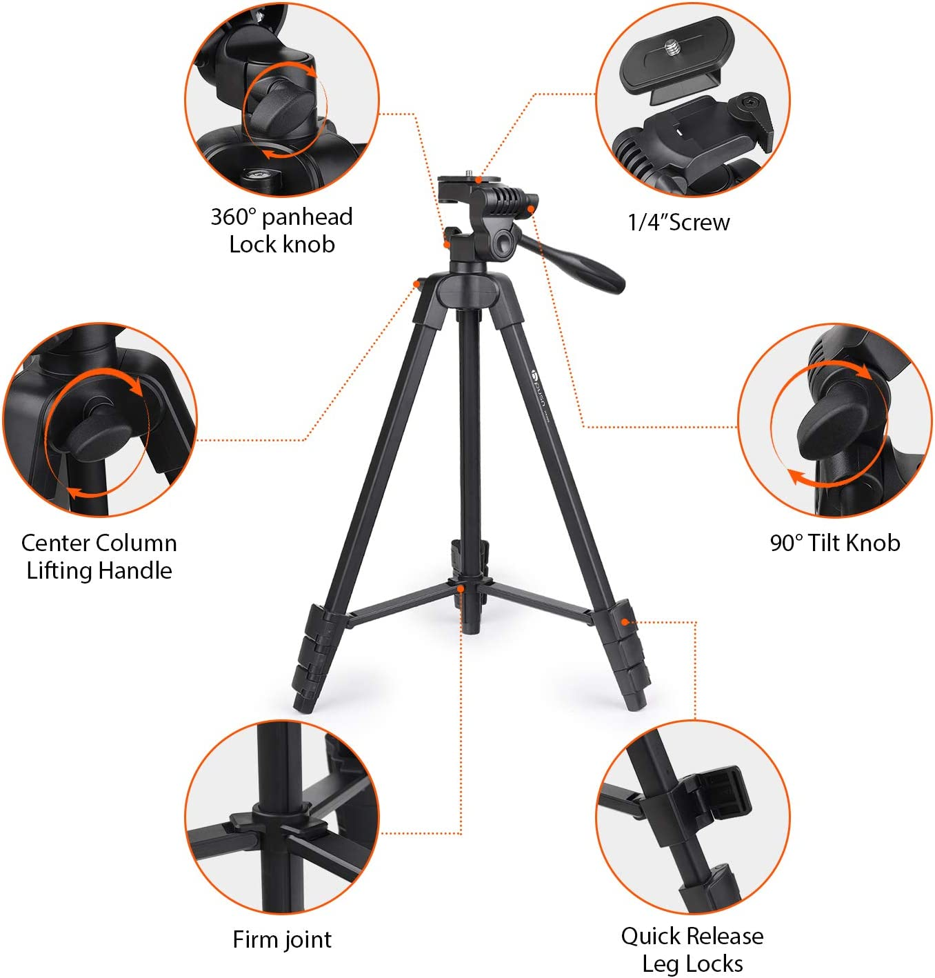 HPUSN Phone Tripod 55 inch,Travel Tripod for iPhone//Camera//DSLR//GoPro with Phone Hoder,Remote Control,Carry Bag,for Photography,Video,Vlogging,Aluminum Lightweight Tripod Weight 1.3 Lb