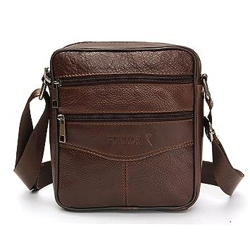 ba21947d4a85 OURBAG Men Vintage Cowhide Leather Shoulder Messenger Bag Crossbody Small  Satchel