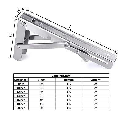 Heavy Duty Stainless Steel Collapsible Bracket Wall Mounted DIY Foldable Brackets for Table Desk Workbench Max Load 300 lb 8 Folding Shelf Brackets