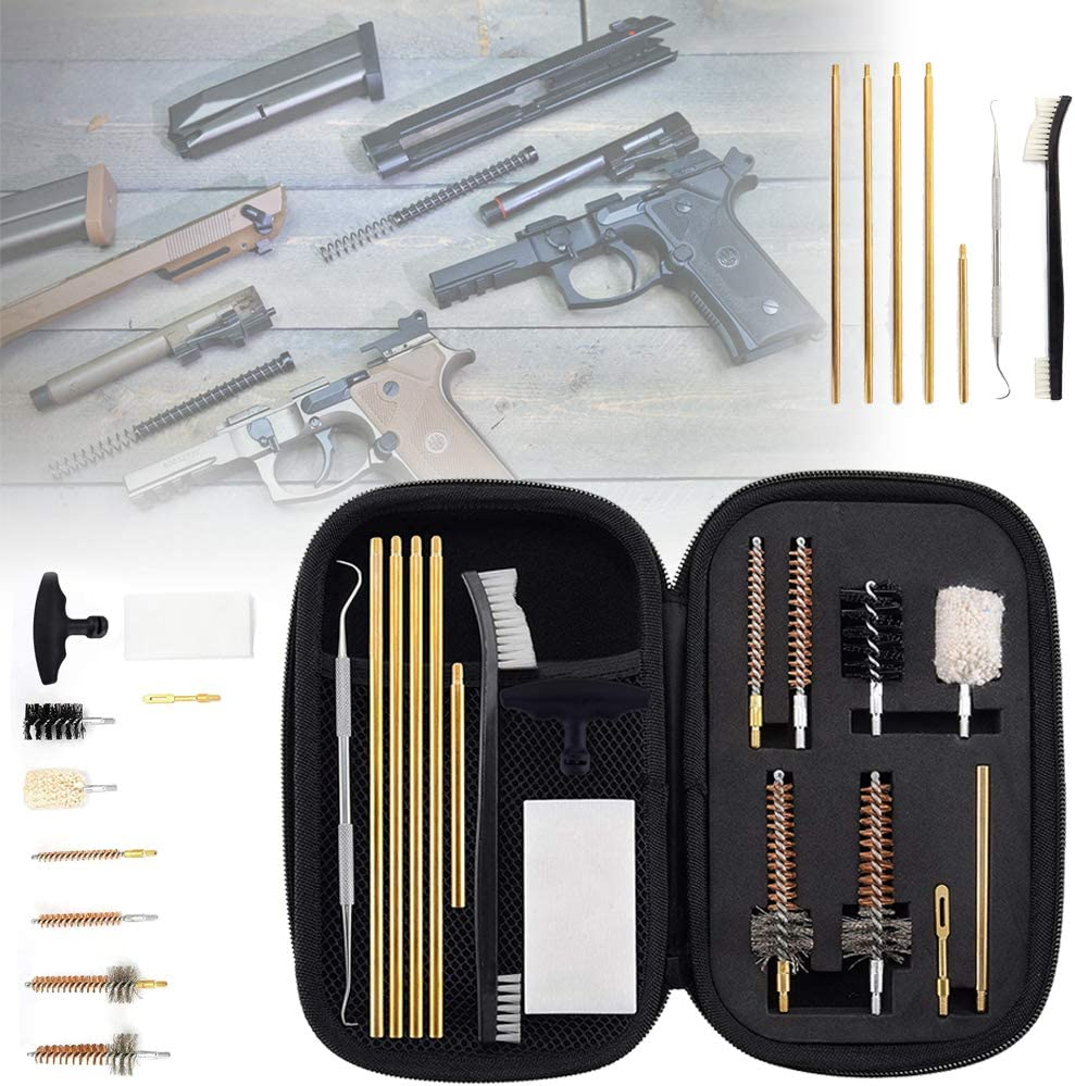 HIMAPETTR Kit De Limpieza Pistola 7.62mm, Cal.223 Pistola Escopeta Calibre De Armas, Portátil Multifunción Herramienta, Limpieza De Cepillo, con Bolsa De Transporte