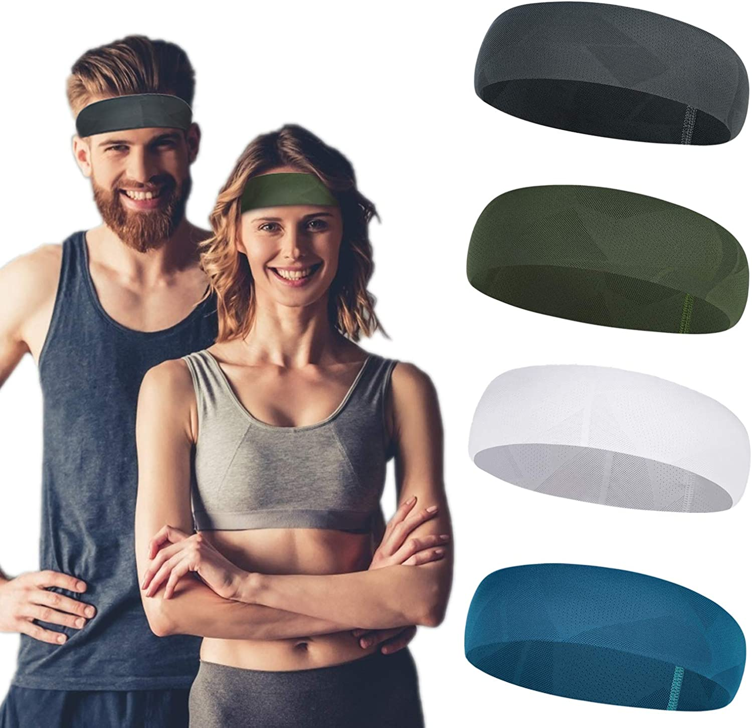 HAIAISO 4 Pack Men Quick Drying Breathable Wide Headband, Cooling Elastic Sports Headband for Cycling