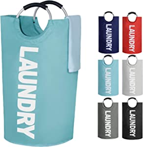 OUPAI Large Laundry Basket 82L (6 Colors), Foldable Fabric Laundry Hamper, Collapsible Clothes Hamper for Laundry, Folding Clothes Bag,Washing Bin (Light Blue)