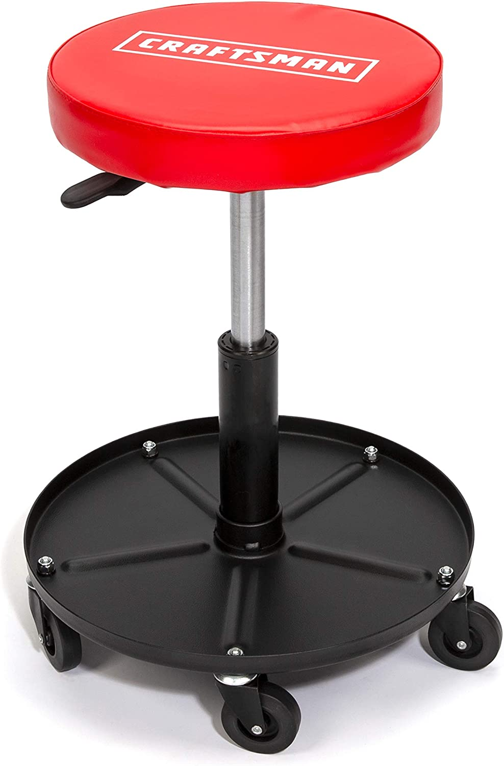 CRAFTSMAN Adjustable Height Rolling Creeper Stool with Storage Tray, Rip-Resistant Padded Vinyl Seat, 300-lb Capacity
