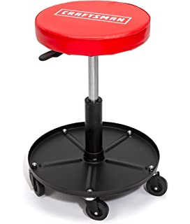 Durable Steel Frame DEWALT Padded Renewed 360-degree Swivel Seat Rolling Shop//Garage Stool Adjustable