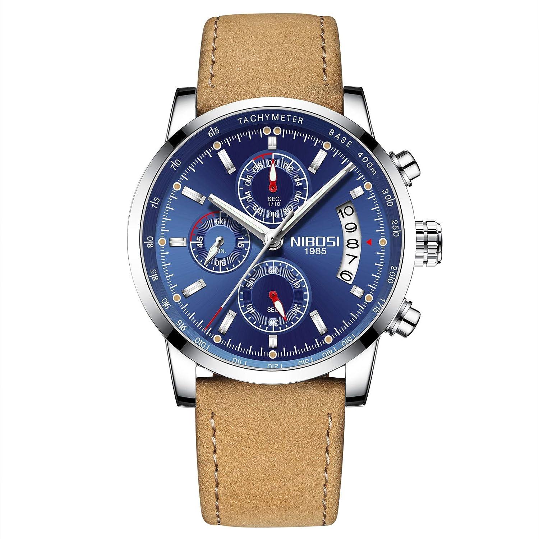 Relojes Hombre Relojes de Pulsera Marea Cronometro Impermeable Fecha Calendario Analogicos Cuarzo Relojes de Hombre Deportivo