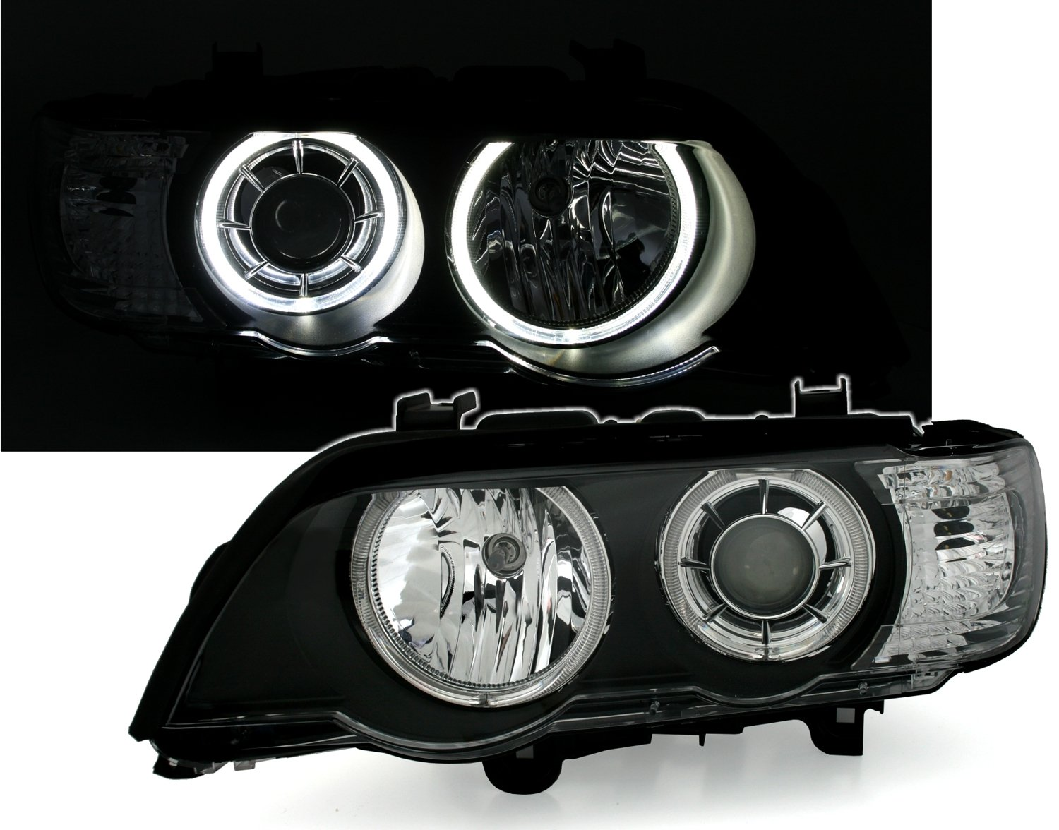 KG DEPO Angel Eyes Faros Set Negro con LED Wei/ã/ÿen Anillos de luz AD Tuning GmbH /& Co