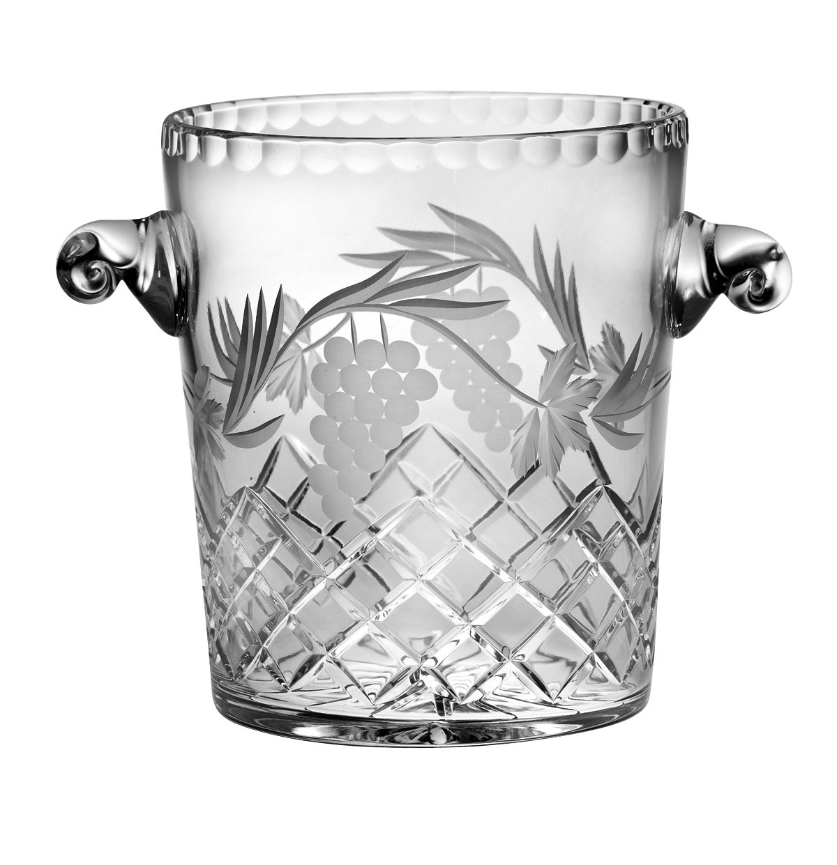 Barski - Hand Cut - Mouth Blown - Crystal - Ice Bucket - 8.5'' H - With Grapevine Design - Made in Europe